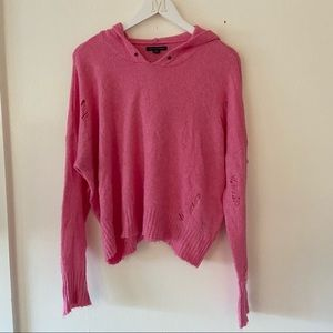 American Eagle Pink Ripped Hooded Sweater Cozy